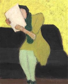 Milton Avery - Seated Figure, 1957. Oil on canvasboard, 10 x 8 in. (25.4 x 20.32 cm). Private Collection