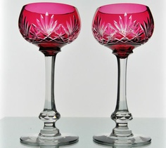 St Louis Massenet Cranberry Red Cut to Clear Crystal Wine Goblets Glasses Pair