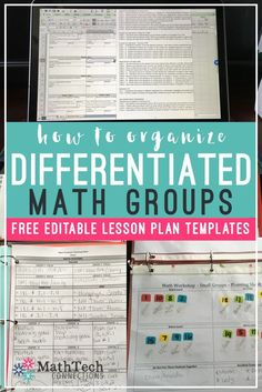 how to organize differentiated math groups - free lesson plan templates and check lists
