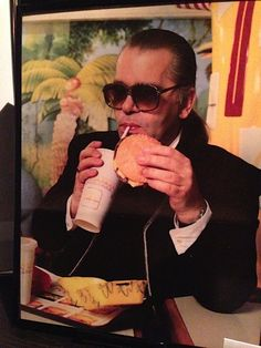 karl lagerfeld eating at mcdonald's in the 80s