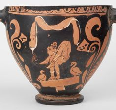 Amazing image of female acrobat performing on a potter's wheel. Small cup from South Italy 350 BC. via @michaelmuseums