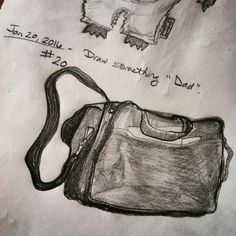 "Day 20 draw something ""dad"". Here's my husband's computer bag for work the kids know it's dad's.  #everydaydrawingchallenge #eddc #sketchbooking #drawing #sketching #sketchaday #artshare #arteveryday #artistsoninstagram #artoftheday #dailysketch #blackwoodcottageart"