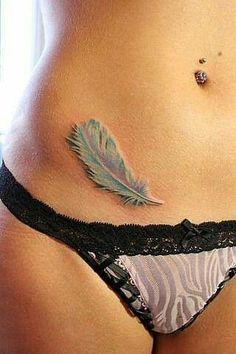This 3D tattoo of a feather looks both realistic and delicate. Nice
