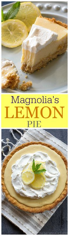Lemon Pie - light, sweet and tart lemon pie with a thick graham cracker crust. From Joanna Gaines from Magnolia Market!