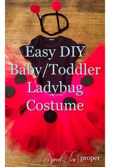 Halloween is just around the corner and if you are planning to buy a costume. Your darling daughter will have to settle for the cupcake costume in the back. Baby Girl Halloween, First Halloween, Halloween Kids, Halloween Couples, Group Halloween, Halloween 2018, Toddler Ladybug Costume, Toddler Costumes, Diy Halloween Costumes For Toddler Girls
