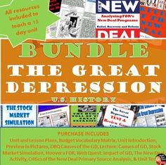"""The Great Depression – BUNDLE The 13 Day Unit Plan (secondary U.S History)  This product includes everything you need to teach a 13-day unit on """"The Great Depression"""" for your secondary U.S. History class. Common-Core aligned!  Purchase in BUNDLE and you will automatically save 20% off of each product! A pacing guide and detailed lesson plans are included! """"Work smarter not harder!"""""""
