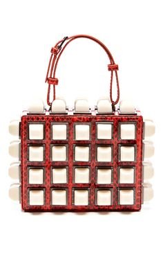 Lucite-Studded Snakeskin Clutch by Tonya Hawkes