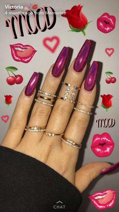 Cute Acrylic Nail Designs, Best Acrylic Nails, Fall Nail Designs, Holographic Nails Acrylic, Cute Nails, Pretty Nails, My Nails, Perfect Nails, Gorgeous Nails