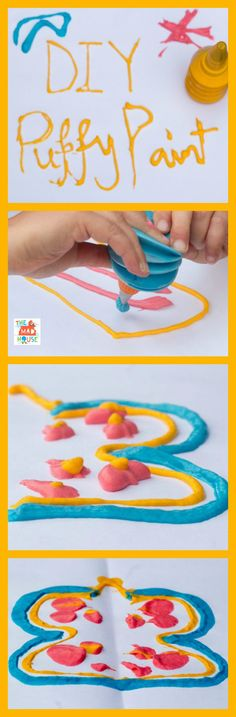 Super Sensory Book Tour – DIY Puffy Paint DIY Puffy Paint – I had no idea that it was this easy to make homemade puffy paint. It dries puffy too. Easy Art Projects, Projects For Kids, Crafts For Kids, Free Activities For Kids, Art Activities, Classroom Activities, Painting For Kids, Diy Painting, Homemade Puffy Paint