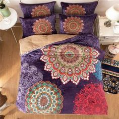 FREE SHIPPING! Queen Double Bed Size Warm Bedding Sets Bohemian Boho Style