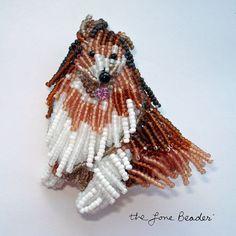 Beaded ROUGH COLLIE bead art dog pin/ brooch