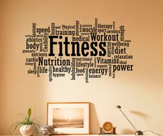 Fitness Wall Decal Vinyl Stickers  Sport Gym Words Interior Home Design Art Murals Wall Graphics Decor (12f01w)