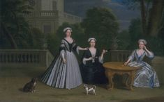 Three Ladies of the Leman Family and their Dogs on a Terrace, 1728, Benjamin Ferrers.