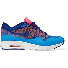 Nike Air Max 1 Ultra Flyknit sneakers ($200) ❤ liked on Polyvore featuring shoes, sneakers, electric blue shoes, lace up sneakers, lace up shoes, blue sneakers and royal blue shoes