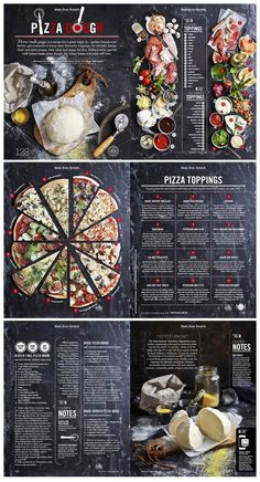 Food infographic Pizza story from Food Magazine Issue designed by Hieu Nguyen. See more work Magazin Food infographic - Pizza story from Food Magazine Issue designed by Hieu Nguyen. See more work . Design Menu Pizza, Food Graphic Design, Food Menu Design, Design Design, Design Ideas, Menu Restaurant, Restaurant Design, Restaurant Identity, Pizzeria Menu