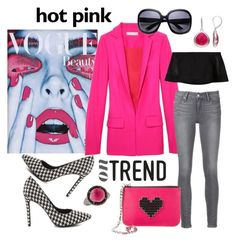"""Hot Pink passion"" by closet-freak ❤ liked on Polyvore featuring Penny Loves Kenny, Raquel Allegra, Les Petits Joueurs, Bavna, Dana Buchman, hotpink and pinkjacket"
