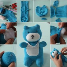 How to DIY Adorable Sock Teddy Bear - Adorable!Don't throw out those old socks! Turn them into Sock Animals like this adorable Sock Teddy Bear.Sock Bear (filled with lavender & rice) would make a wonderful Bedtime Simply Adorable Old Sock Diy Sock Toys, Sock Crafts, How To Make Socks, Crochet Baby Socks, Sock Bunny, Sock Dolls, Sock Animals, Crochet Animals, Cute Socks