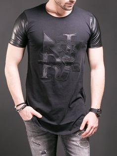 N&R Men Faux Leather Sleeves Side Zippers T-shirt - Black Leather T Shirt, Leather Sleeves, Leather Men, R Man, Casual Wear For Men, Knitwear Fashion, Workout Shirts, Shirts For Girls, Lounge Wear