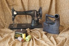 "Still life -  vintage by Irena Lisiewicz: ""Old – fashioned sweing machine on draped material"". #art, #creative, #still life, #irenalisiewicz, #vintage, #artwork, #handmade, #design, #original, #card, #gift, illustration, #symbol,  #photography, #retro style, #visual art, #old-fashion,"