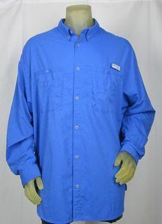 Men's Columbia PFG Tamiami II Long Sleeve Vented Shirt Omni-Shade Blue XXL #Columbia #ShirtsTops