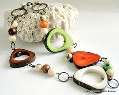 Tribal tagua and acai bead necklace, eco jewelry by JudysDesigns found on etsy.com