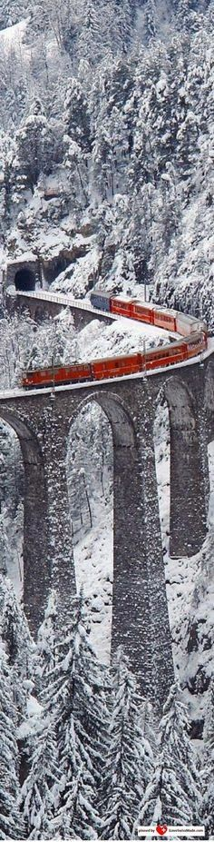 This is the Bernina Express in southeastern Switzerland. I rode it in September...no snow!