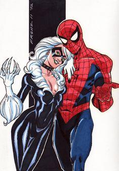 Black Cat & Spider-Man, in Bill Wasson Jr.'s Ron Frenz Comic Art Gallery Room Spiderman Black Cat, Spiderman Girl, Deadpool X Spiderman, Batman, Marvel Art, Marvel Heroes, Captain Marvel, Black Cat Marvel Costume, Comic Books Art