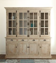 Chateau Reclaimed Wood Hutch Cabinet- Antique White | Zin Home
