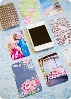 Make your own personalized iPhone cover. Clear case & photos or scrapbooking paper.