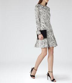 Womens Black/white Printed Frill-hem Dress - Reiss Finlay
