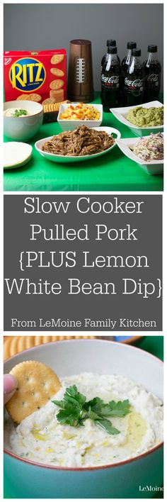Slow Cooker Pulled Pork Taco Bar {PLUS a Lemon White Bean Dip}. I've got two fantastic recipes that are a MUST make for your next get get together! This Pulled Pork Taco Bar & Lemon White Bean Dip will score you a touchdown with friends and family. A little bonus, these are way lighter then traditional football eats, so go ahead and ENJOY! #ReadyForKickoff #ad @walmart