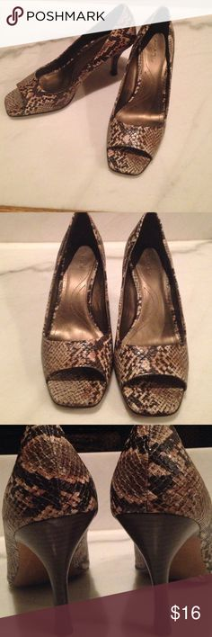 Snake skin pumps Snake skin pumps in good condition.  No wear on front or heels.  The bottom has wear.  Inside outside intact.  3 inches Tahari Shoes Heels