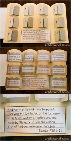 Shower of Roses: The Ten Commandments Catechism Craft with Free Printables! - Shower of Roses: The Ten Commandments Catechism Craft with Free Printables! Bible Story Crafts, Bible School Crafts, Bible Crafts For Kids, Bible Lessons For Kids, Kids Bible, Bible Activities For Kids, Group Activities, Sunday School Kids, Sunday School Activities