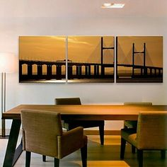 E-HOME® Stretched Canvas Art Bridge Decoration Painting Set of 3 – USD $ 77.99