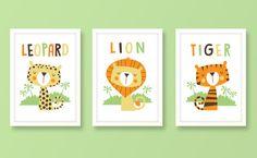 Jungle nursery art animal print set jungle by BubbleGumYears