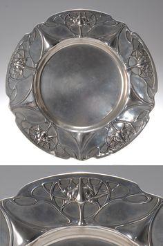 Friedrich Adler, German Art Nouveau pewter plate, 1900-1901, manufactured by Walter Scherf & Co. under the trade name Osiris, 27 cm. diam. | SOLD $987 Oct. 2007