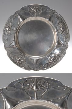 Friedrich Adler, German Art Nouveau pewter plate, 1900-1901, manufactured by Walter Scherf & Co. under the trade name Osiris, 27 cm. diam.  |  SOLD $987 Oct. 2007
