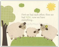 Baby Room Decor, Nursery wall Art, lamb, sheep..First we had each other..match the colors of sweet lambie by pottery barn baby sheep. $17.00, via Etsy.