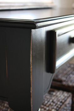 Tutorial for black finish...this would be great to save old furniture and make look like Pottery Barn's
