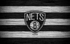 Download wallpapers 4k, Brooklyn Nets, NBA, wooden texture, basketball, Eastern Conference, USA, emblem, basketball club, Brooklyn Nets logo