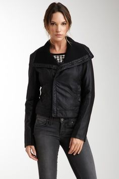 Rib Knit Collar Faux Leather Moto Style Jacket by Kenneth Cole on @HauteLook