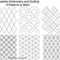 FREE Sashiko Embroidery Patterns - Set 1: Set of Eight Sashiko Stitches.   (Full-size patterns given on the following pages)