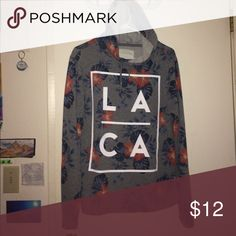 Aeropostale hoodie Like new, light jacket from Aeropostale. Grey background with red and blue hibiscus flowers. Aeropostale Jackets & Coats