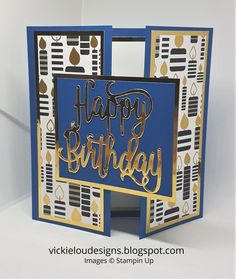 Happy Birthday Gate Fold Card You are in the right place about DIY Birthday Cards for mom Here we offer you the most beautiful pictures about the DIY Birthday Cards for brother you are look 65th Birthday Cards, Homemade Birthday Cards, Masculine Birthday Cards, Birthday Cards For Women, Bday Cards, Masculine Cards, Homemade Cards, Birthday Card For Man, Scrapbook Birthday Cards