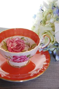AYNSLEY Bone China  Tea Cup and Saucer Stunning by HoneyandBumble, $32.00