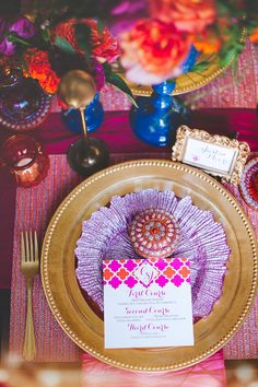 Jewel tones are trending right now and it's easy to see why in this jaw-dropping shoot! Little Wedding Blush and a talented team of vendors came together to bring the east meets west vision to life, and they pulled out all the stops to make it truly spect Mehndi Decor, Bollywood Party, Moroccan Wedding, Jewel Tones, Four Seasons, Marrakesh, Birthday, Stationary, Mad