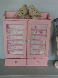 Shabby Chic Pink Spice Cabinet  Shabby Chic Fabric by Fannypippin,