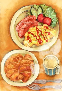 Healthiest dinner foods for weight loss Food Sketch, Food Cartoon, Watercolor Food, Breakfast Food List, Breakfast Set, Food Wallpaper, Food Painting, Good Healthy Snacks, Food Drawing