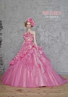 dball : 画像 Wedding Gown Ballgown, Pink Wedding Gowns, Colored Wedding Dresses, Bridal Gowns, Pink Colour Dress, Quinceanera Dresses, Costume Dress, Dress Brands, Beautiful Dresses