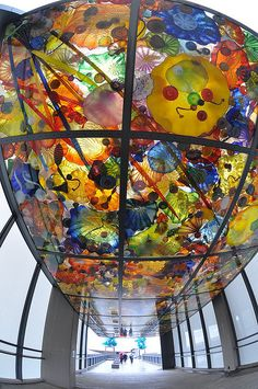 Chihuly Bridge of Glass, a pedestrian foot-bridge over I-705, next to the Museum of Glass - Tacoma, Washington, USA